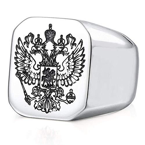 XBOMEN Ring Adler Kaiserlich Russische Flagge Silber Edelstahl Schmuck