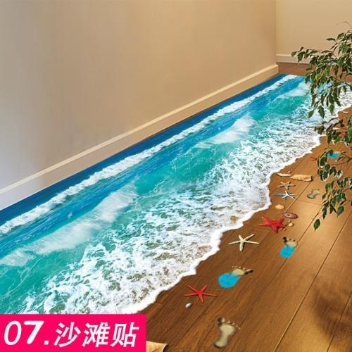 Preisvergleich Produktbild ALLDOLWEGE Die Schlafzimmer sind modern 3D Bad WC wasserdicht Fliesen Aufkleber Dekoration wand Poster wallpaper wallpaper Strand Aufkleber selbstklebende Klappe schließen