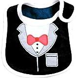 Zhouba, bavaglino impermeabile per neonato, stile elegante con motivo di papillon, camicia e giacca