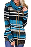 Aleumdr Felpa Donna con Tasche Felpa Donna Invernali a Righe Pullover Donna Collo Alto Tasche Felpe Senza Cappuccio Donna per Autunno Inverno