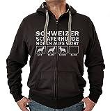 SCHWEIZER SCHÄFERHUND Berger Blanc Suisse weiß weisser - JACKE HÖREN AUFS WORT Motiv Siviwonder Unisex HUND Kapuzen Zip Pullover Sweatjacke Hunde schwarz XL