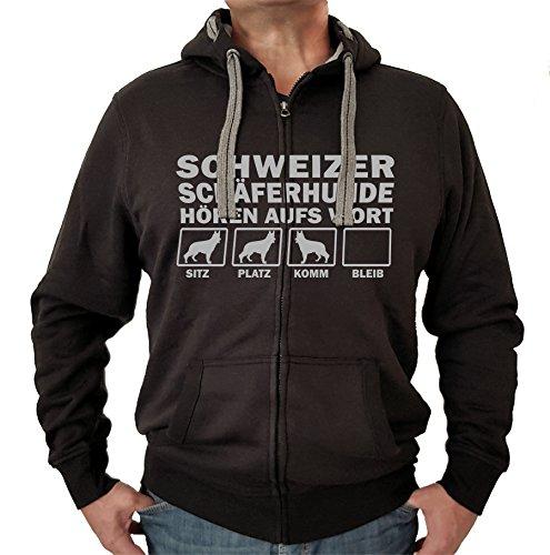 Siviwonder Schweizer SCHÄFERHUND Berger Blanc Suisse weiß Weisser - Jacke HÖREN AUFS Wort Motiv Unisex Hund Kapuzen Zip Pullover Sweatjacke Hunde schwarz 3XL