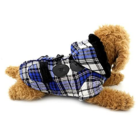 SELMAI Plaid Dog Coat Toggle Hooded Dog Clothes Winter for