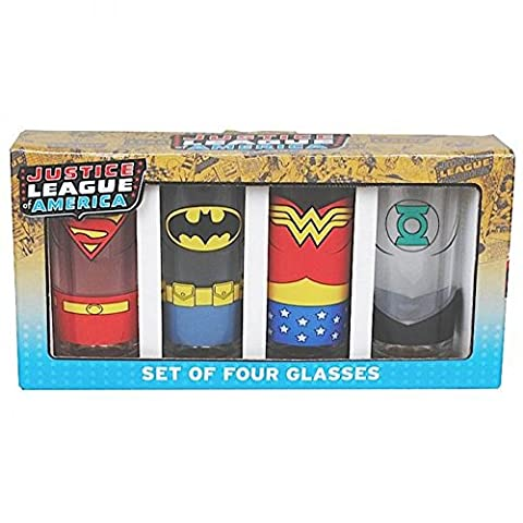 Justice League DC Comics Lot de 4 verres à l'effigie de la Ligue des justiciers : Batman, Superman, Wonder Woman et Green Lantern - Livré dans un coffre cadeau