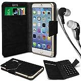 N4U Online® - Parla Gala PU-Leder Saugnapf Mappen-Kasten-Abdeckung und 3,5-mm-Ohrhörer Stereo-Ohrhörer - Schwarz