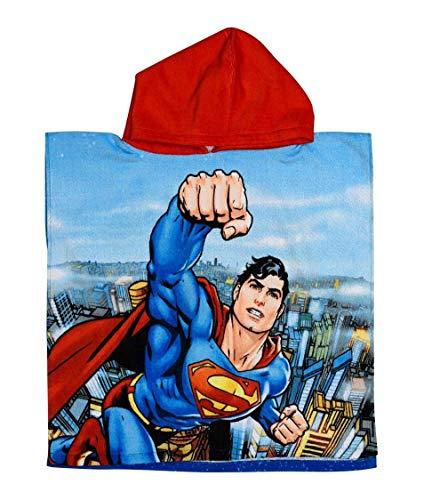 Badetuch Bademantel Kapuzen Poncho für Kinder Baumwolle - wählbar: Super Wings Cars Avengers Mickey Paw Patrol Spiderman Ninja Superman - tolles Geschenk für Jungen (Superman)