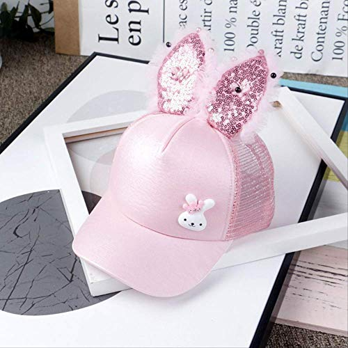 qqyz Kinder Net Hut Jungen Und Mädchen Styling Mütze Kaninchen Ohr Sequins Net Hut Ist Ausflug Baseball-Kappe Baby Schattierung Cool Hut 50-52CM anpassbar Kaninchen rosa