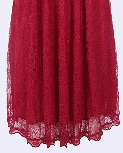 Femme Dentelle Vintage À-line Manches Courtes Robe Vin rouge