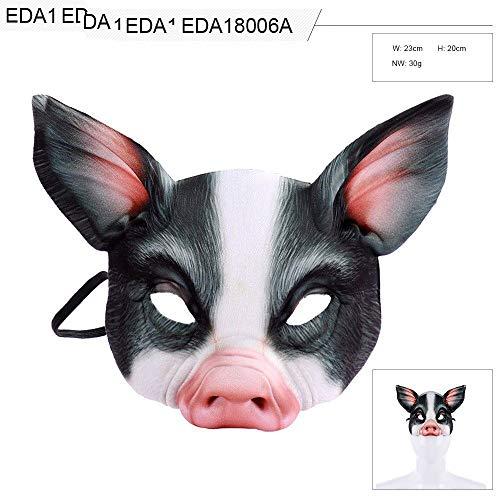 WanTo Lustiges Karnevals-Party-Tier-realistische halbe Gesichts-weiße Schwarze Anime-Cosplay Eva 3D Schwein-Maske, Schwarze Schweinmaske