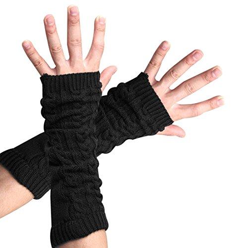 Zelta Women's Knitted Arm Warmers Long Fingerless Thumbhole Gloves Acrylic Fiber