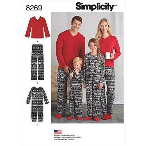 Simplicity Muster 8269ein Kind 's Girl 's und Boy 's Jumpsuit und Teen 's und Erwachsene Pants und Knit Top Schnittmuster, weiß, XS–L/XS–X-Large