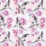 Fabulous Fabrics Baumwolljersey Digitaldruck Rosen & Schwalben – Weiss — Meterware ab 0,5m — zum Nähen von Tops und Shirts, Leggings und Röcken