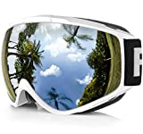 findway Skibrille, Snowboard Brille für Brillenträger Herren Damen Erwachsene Jugendliche OTG UV-Schutz Kompatibler Helm Anti Fog Skibrillen Sphärisch Verspiegelt (Weiß Silber VLT 21%)