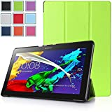 Bestdeal® High Quality Ultra Slim Lightweight SmartCover Stand Case for Lenovo Tab 2 A10-70 10.1 inch Tablet PC + Screen Protector and Stylus Pen (Green)