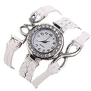 Minetom Vintage Leder Ketten Liebe Unendlichkeit Quarz Armbanduhr Lederarmband Uhr Top Watch Weiß