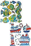 16 TLG. Set 3-D Wandtattoo / Fensterbild / Sticker - Fische Seepferdchen & Schiffe - Mosaik - wasserfest - Fisch Unterwasser Fische Bad Fliesen - Wandsticker ..