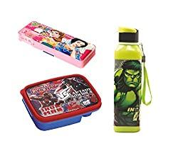 Playking SKI Combo of Magnetic Pencil Box 1608, Lunch Box and LIC Rio Big Sipper Bottle