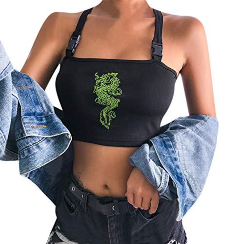 TUDUZ Crop Tops Sommer Damen Sexy Weste Fashion Leibchen Baumwolle Ärmelloses T-Shirt (Schwarz-B, S)