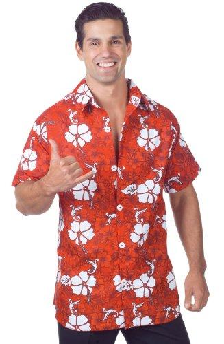 Men's Plus Size Red Hawaiian Shirt 2X-Large (Hawaiian Plus Size Kostüme)