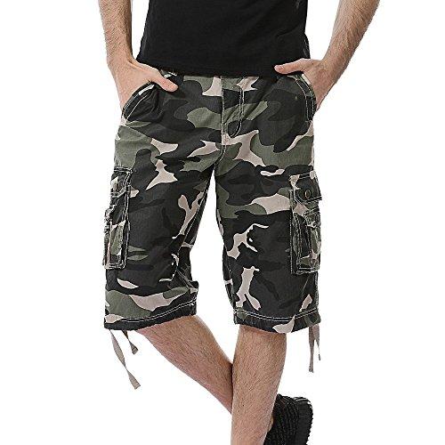 Herren Camouflage mehrfarbige Arbeitshose Shorts Herren Multi-Taschen Arbeit Shorts Kurze Cargo Jacke Hose Laufhose lässige Hose Cargo Chino 3/4 Hose Männer Hosen