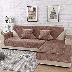 HUANZI SOFA Home Copridivano A Forma di L con Inserti in Pelle A Forma di L, Rivestiti in Pelle A Forma 3 Posti, Yellow, 70 * 210cm