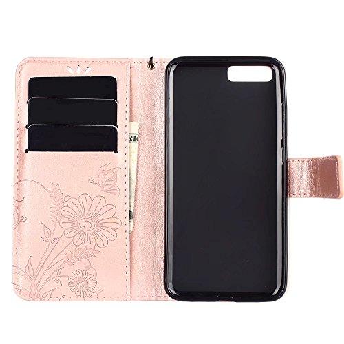 Horizontale Bookstyle Flip Case Premium PU Ledertasche, Massiv geprägte Blumen Schutzbrieftasche Tasche mit Deckel und Streifen für Xiaomi 6 ( Color : Gray ) Rose gold
