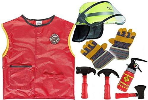 Kostüm Feuerlöscher Der - KSS Feuerwehr komplett-Set Alles was der kleine Feuerwehrmann braucht Weste, Feuerlöscher, Werkzeuge Helm, Kostüm , Fasching , Karneval usw...
