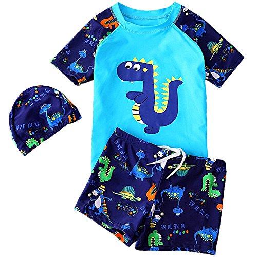 KleinKinder Jungen Bademode Badeanzug Schwimmbekleidung Uv-Schutz Dinosaurier Bade-Set Kurz Tops+Badehose mit Hut (Blau, 3-4 Jahre)