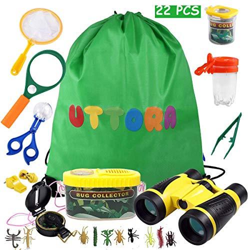 UTTORA Draussen Forscherset Spielzeug, Kinder fernglas 22 Stück Kids Adventurer Explorer Set mit Bug Catcher Pinzette Insect Viewer Kompass Lupe & Schmetterlingsnetz für Camping Fernrohre