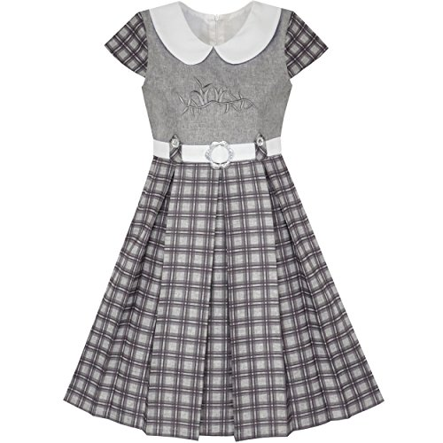 Mädchen Kleid Grau Plaid Belted Schule Uniform Gefaltet Saum Gr. 122 (Schule Plaid-kleid)
