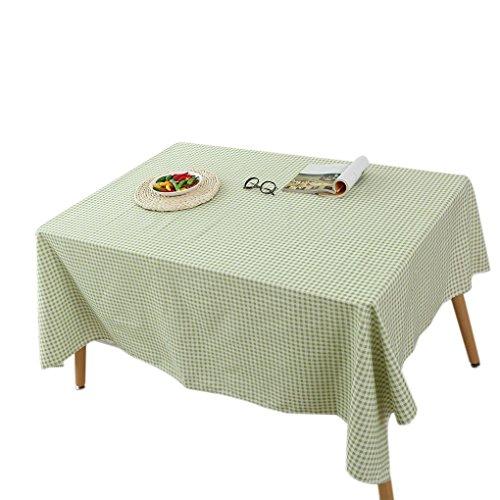 kakiyi Grüne Karierte Tischdecke Retro Baumwolle Leinen 140x140cm/120x160cm Quadrat/Rechteck Tischdecke Abdeckung