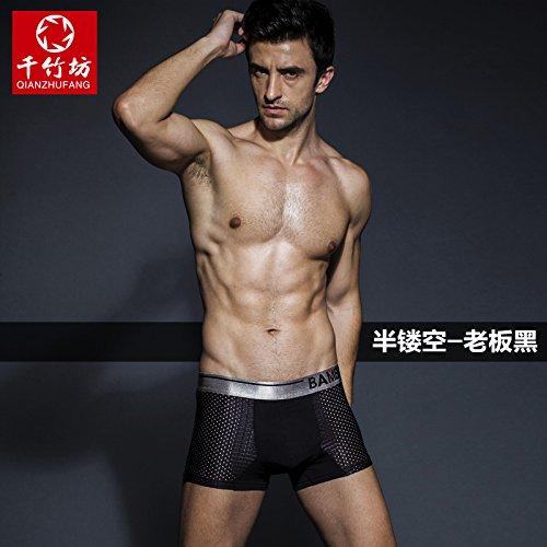 Slip intimo in fibra di bambù traspirante Traceless allentati maschio Dimensione Sexy mutandine,bianco,XL Greatlpk Black