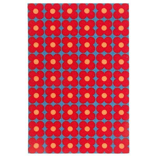 MBI Fußmatte Kleine Blumen blau/rot Größe zusammengebaut 60 cm Länge 40 cm Dicke 6 mm