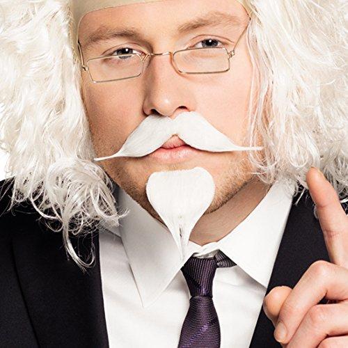 Amakando Schnurrbart und Kinnbart - weiß, 2 TLG. - Oberlippenbart Spitzbart Goatee Alter Mann Schnauzbart Ziegenbart Opa Kostümzubehör Professor Bart