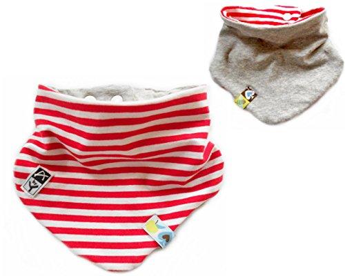 Anna York Design-2-lagiges Wende-Halstuch aus Bio-Baumwolle Kinder Baby - Spucktuch- Hergestellt in Deutschland (hellgrau rot weiß gestreift)
