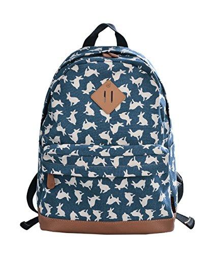 (Douguyan Travel School Backpack Girls Canvas Daypack Reise Rucksack für Schule Mädchen Freizeitrucksack Damen Schulranzen Schulrucksack Schultasche Damen Women Ausflug Campus 133 Blau Hase Muster)