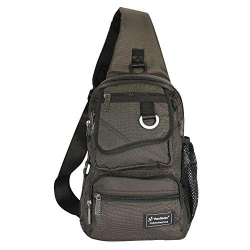 Vanlison Schling-Tasche, Brust-Schulter-Rucksack , Umhängetasche, Mehrzweck-Tages-Rucksack für Männer, Frauen L Schwarz