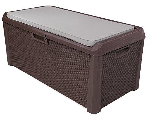 Kissenbox Auflagenbox Santo Rattan Optik braun Sitztruhe inkl. passender Auflage (beige) 560 Liter...