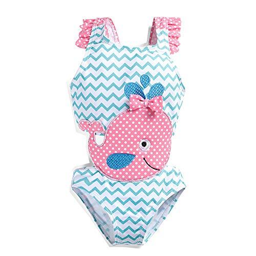 Traje de baño para niñas bebés 1-6Y Dibujos Animados para niños Ballena Flamingo Bikini de una Pieza...