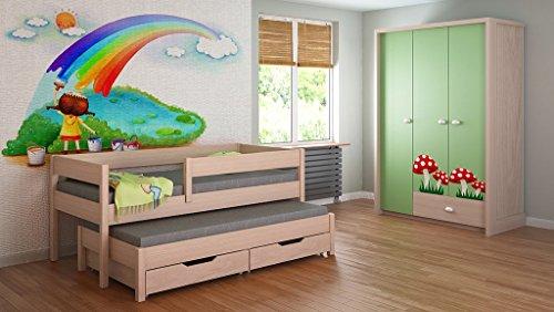 Trundle Bett für Kinder Kinder Juniors Matratze 140x70, 160x80, 180x80, 180x90, 200x90 mit 10cm Schaum / Coconut Fibre Matratze und Schubladen enthalten !!!! (180x90, Helle Eiche)