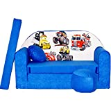 Welox Kindersofa Bettfunktion 3in1 - Kindersessel, Ausziehbett, blau Autos