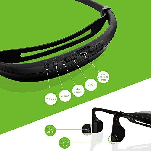 Kopfhörer Bluetooth 4.1 KSCAT Bone Conduction Ohrhörer Headphone Nice2 Sport Knochenleitung Knochenschall Wireless drahtlos Telefontaste Schwarz - 2