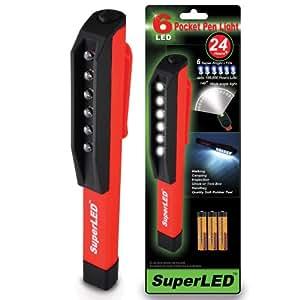 S4U® SuperLED™ 6-LED MINI INSPECTION LAMP PEN LIGHT POCKET TORCH WITH FREE ALKALINE BATTERIES