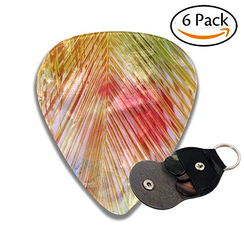 Bright Watercolor Retro Palm Leaf Stylish Celluloid Guitar Picks Plectrums For Guitar Bass 6 Pack.71mm