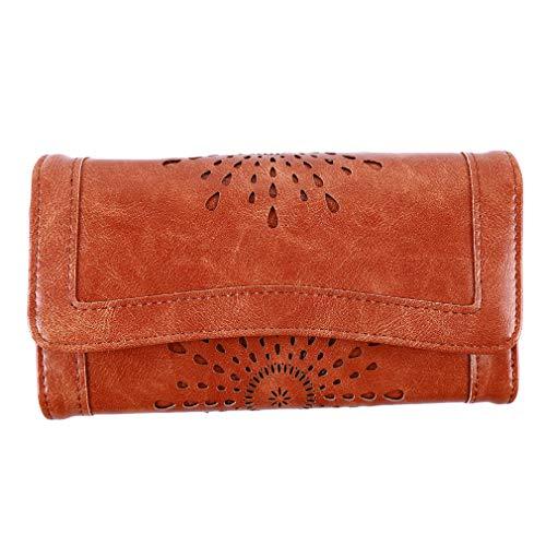 LnLyinl LnLyin Damenbrieftaschen aus weichem Leder Geldbörse Dame Kreditkarte Clutch Halter Lange Geldbörsen Taste Faltbare Handytasche Mode Handtasche, orange