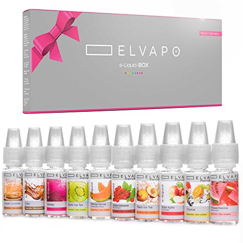 10 x 10ml Elvapo Premium Plus E-LIQUID-BOX - mit extra starkem Geschmack | Energy, Wassermelone, Cola, Tropical, Apple Crumble, Peach Ice Tea, Exotic Ice Tea, Honigmelone, Roter Apfel, Johannisbeere | Probierset für E-Zigaretten und E-Shishas | 0mg (ohne Nikotin) | Made in Germany!