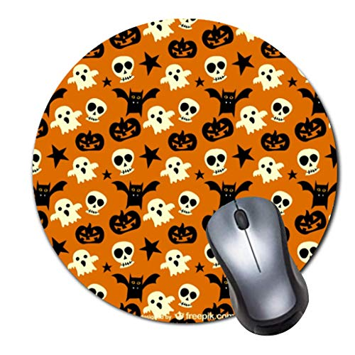 Mauspad,kleines,rutschfestes Mousepad auf Gummibasis mit aktualisiertem,vern?htem Rand,Office-Mauspad f¨¹r M?dchen,Desktop-Zubeh?r,runde Mausunterlage-cute halloween ghosts and skulls