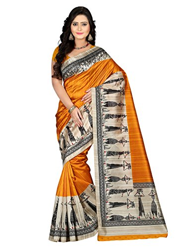 E-VASTRAM Women\'s Art Mysore Printed Silk Saree (NS7A_Yellow)
