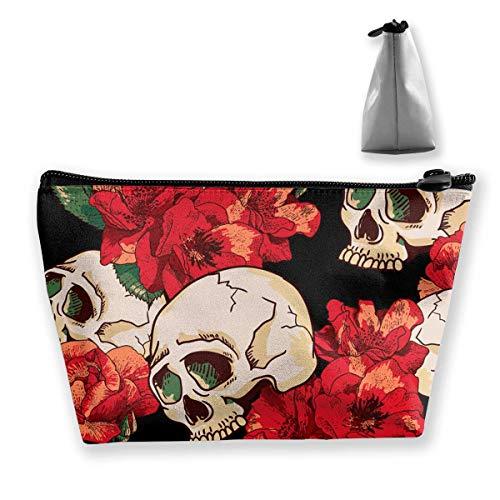 Preisvergleich Produktbild Sugar Rose Skull Toiletry Bag Womens Travel Cosmetic Bags Lightweight Waterproof Case
