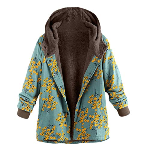JUTOO Plus Size Frauen mit Kapuze Langarm Vintage Damen Fleece Dicke Mäntel Reißverschluss Mantel(Y3-Grün,XX-Large)